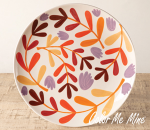 Red Deer Fall Floral Charger
