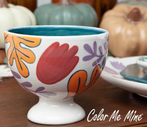 Red Deer Floral Pedestal Bowl