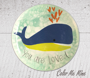 Red Deer Whale Love Plate