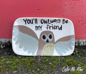 Red Deer Owl Plate