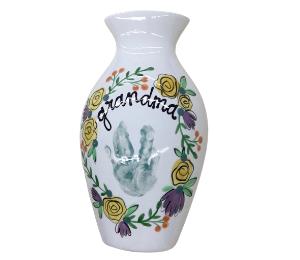 Red Deer Floral Handprint Vase