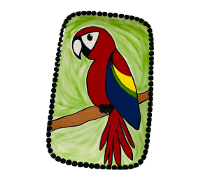 Red Deer Scarlet Macaw Plate
